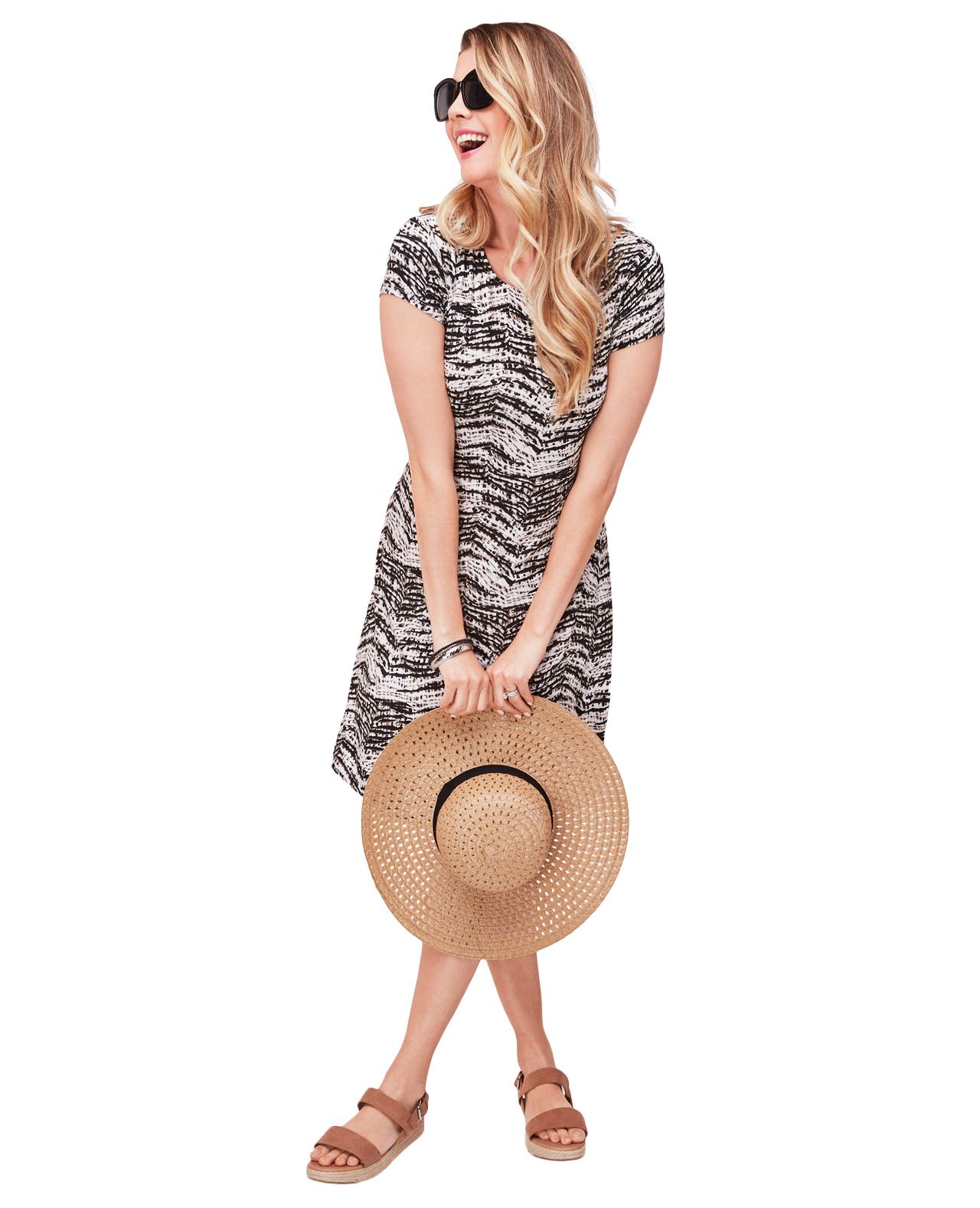 Everyday Printed Swing Dress Brown